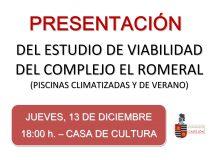Presentación del estudio de viabilidad del Complejo El Romeral (Piscinas climatizadas y de verano)
