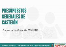 Documento sobre la Sesión Informativa del Proceso de Participación. Presupuestos Generales de Castejón 2018-19
